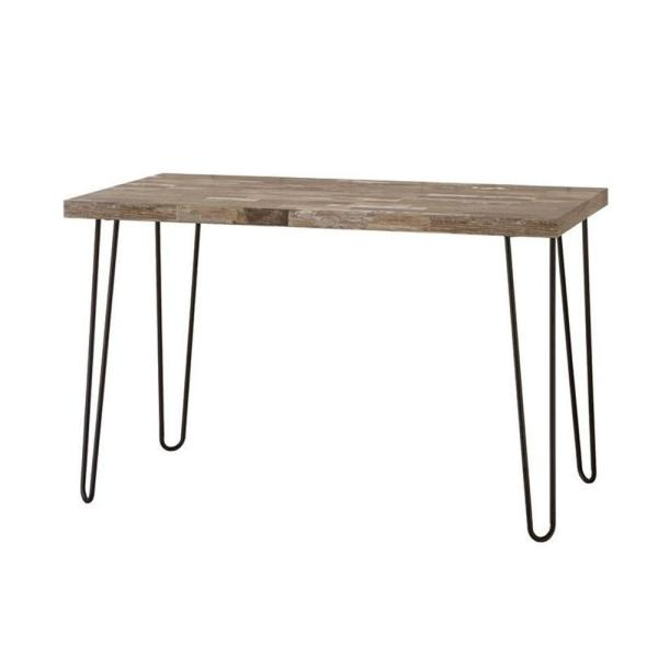 Benjara Industrial Style Brown Writing Desk With Hairpin Metal Legs BM159111