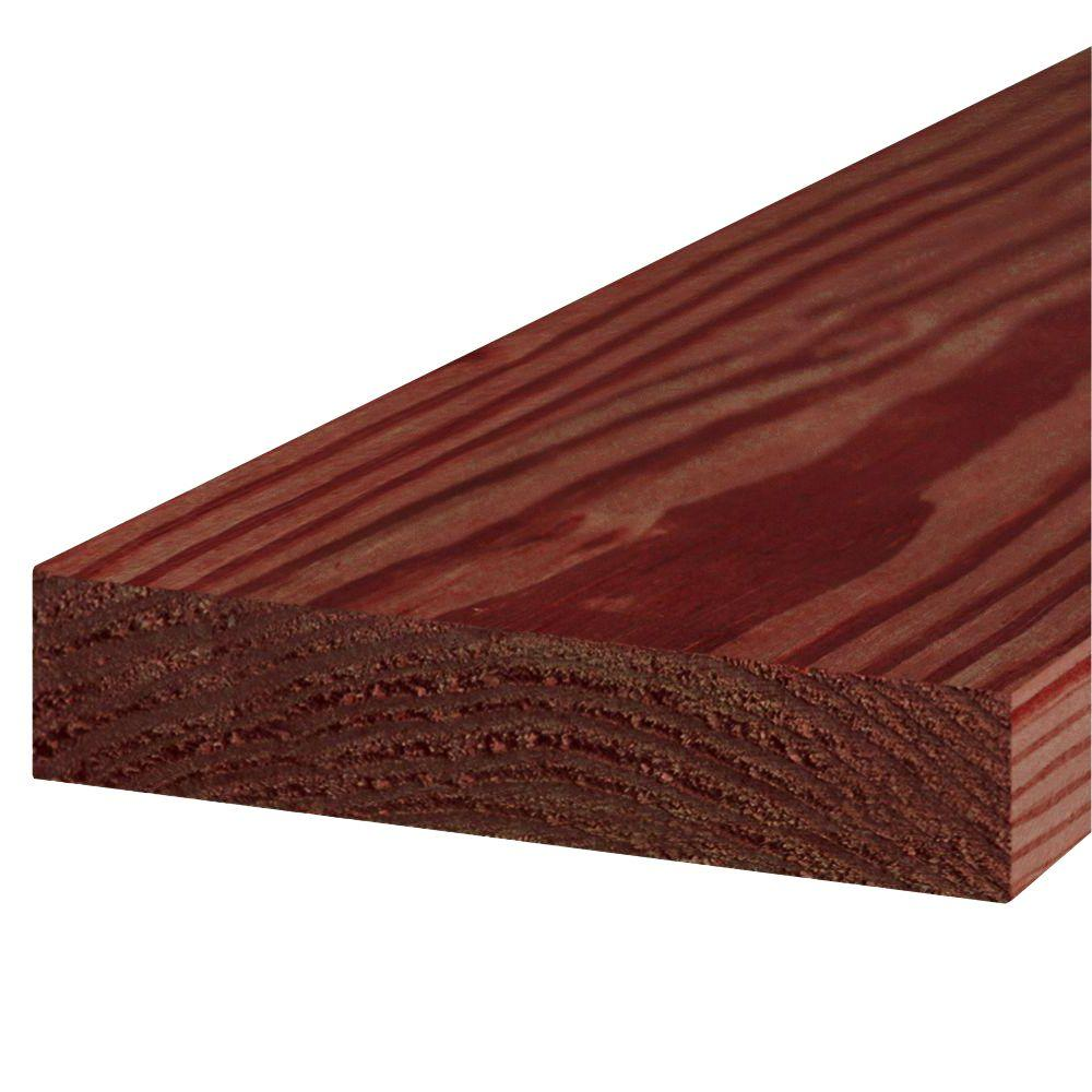 2 in  x 8 in  x 16 ft  #1 Redwood-Tone Ground Contact Pressure-Treated  Lumber