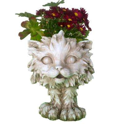 12 in. Antique White Scruffy the House Cat Muggly Planter Statue Holds 4 in. Pot