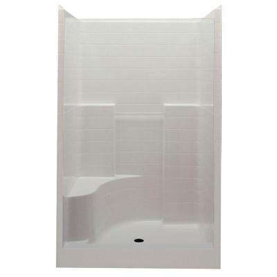 Everyday 60 in. x 35 in. x 76 in. 1-Piece Shower Stall with Left Seat and Center Drain in Biscuit