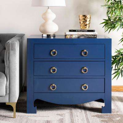Dion 3-Drawer Lapis Blue/Gold Chest