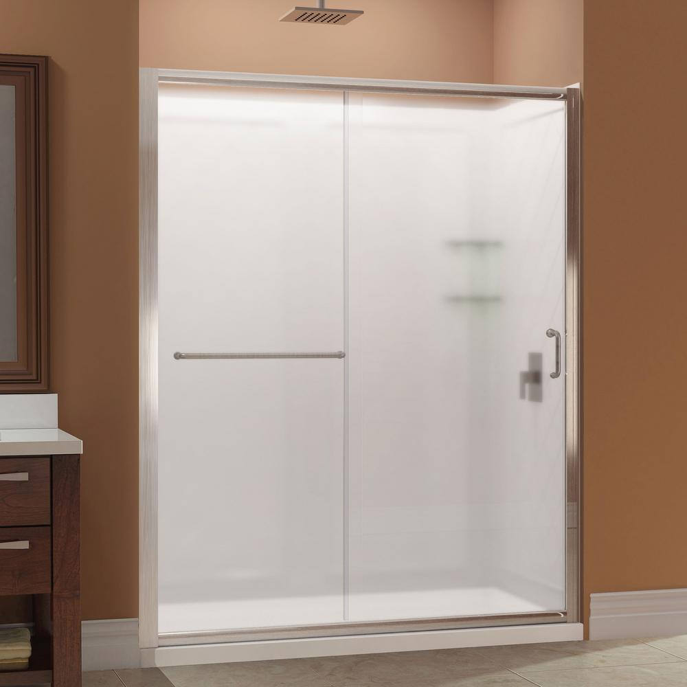 DreamLine Infinity-Z 32 in. x 60 in. x 76.75 in. Framed Sliding Shower Door in Brushed Nickel with Center Drain Base and BackWalls