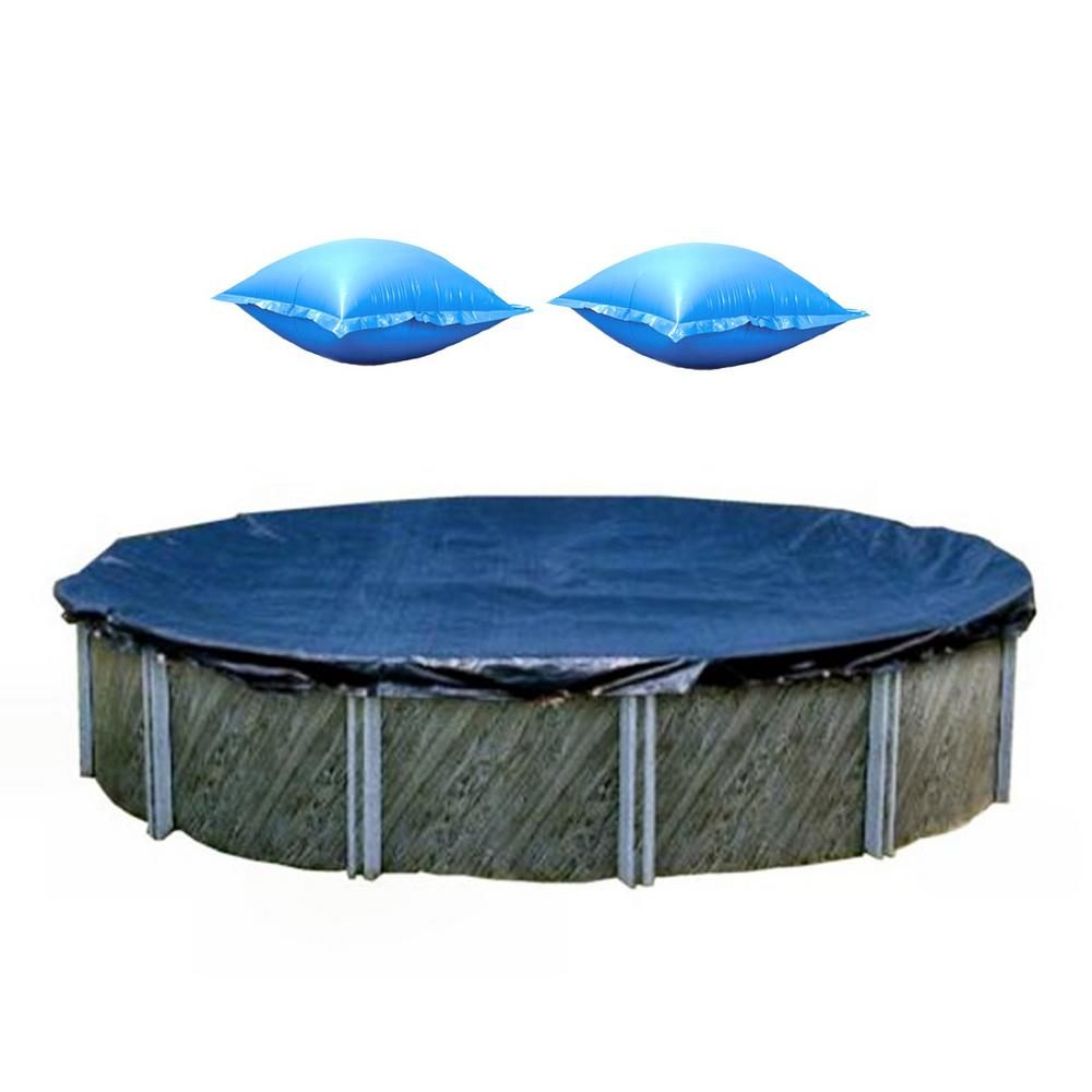 Swimline 18 ft. Round Pool Cover and 4x4 Winterizing Closing Air Pillow (2-Pack)