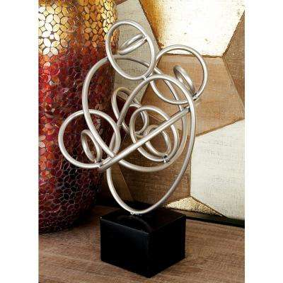 16 in. Abstract Iron Looped and Twisted Silver Band Sculpture on Rectangular Block Base