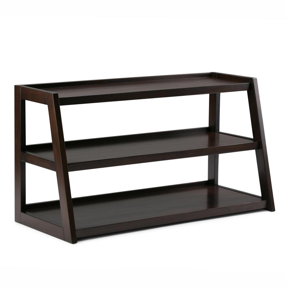 Sawhorse 48 in. Dark Chestnut Brown Wood TV Stand Fits TVs Up to 52 in. with Solid Wood