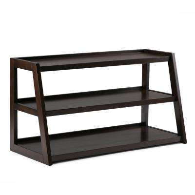 Sawhorse Solid Wood 48 in. Wide Modern Industrial TV Media Stand in Dark Chestnut Brown for TVs Upto 50 in.