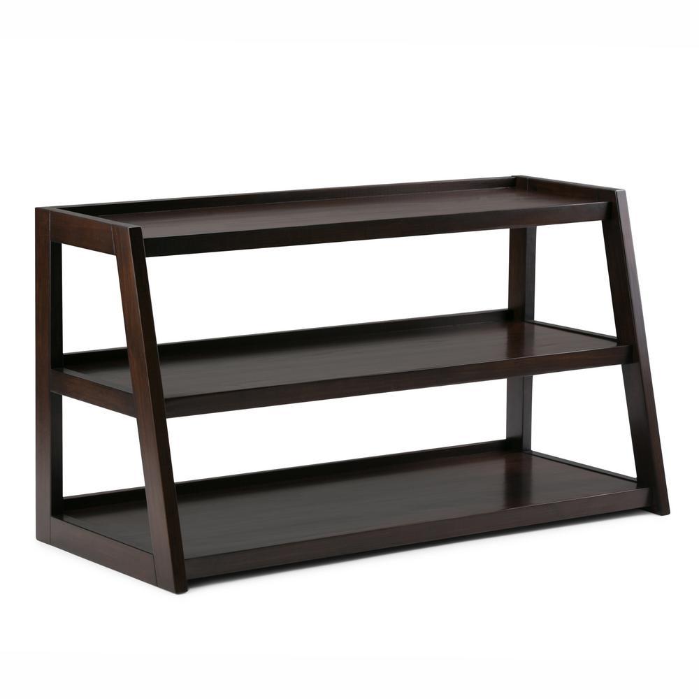 Simpli Home Sawhorse Solid Wood 48 in. Wide Modern Industrial TV Media Stand in Dark Chestnut Brown for TVs Upto 50 in.