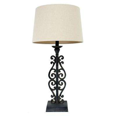 Iron Distressed 30 in. Brown Table Lamp with Linen Shade