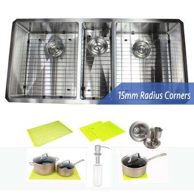 Stainless Steel Undermount 42 in. Triple Bowl Kitchen Sink Combo with Accessories