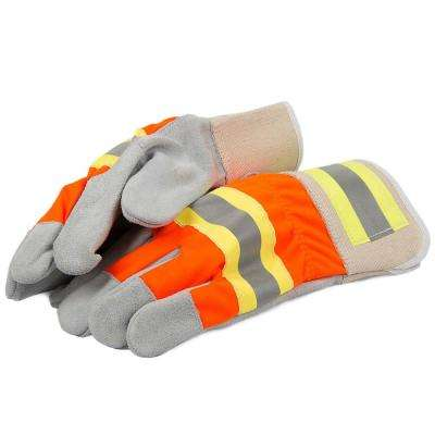 Men's L High Visibility Leather Palm Gloves