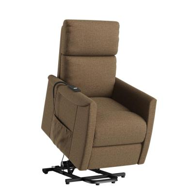 Petite Chestnut Brown Chenille Fabric Power Lift Recliner