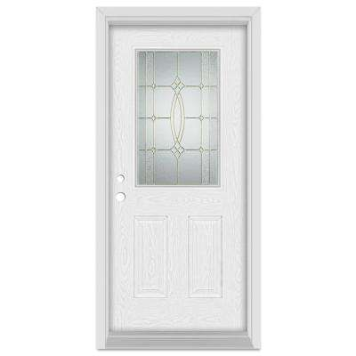 33.375 in. x 83 in. Diamanti Classic Right-Hand 1/2 Lite Brass Finished Fiberglass Oak Woodgrain Prehung Front Door