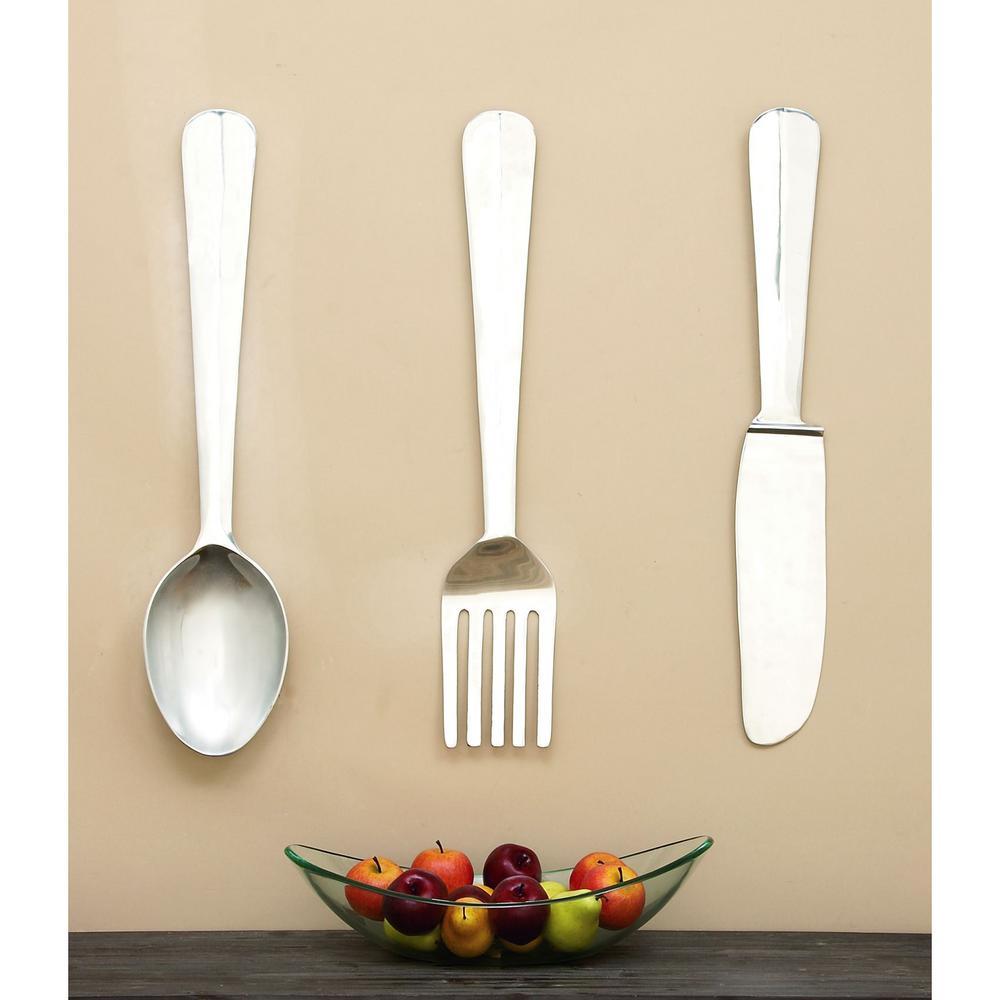 Marvelous Litton Lane Kitchen Art Set Of 3 Polished Aluminum Wall Decor