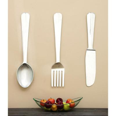 Kitchen Art Set of 3 Polished Aluminum Wall Decor