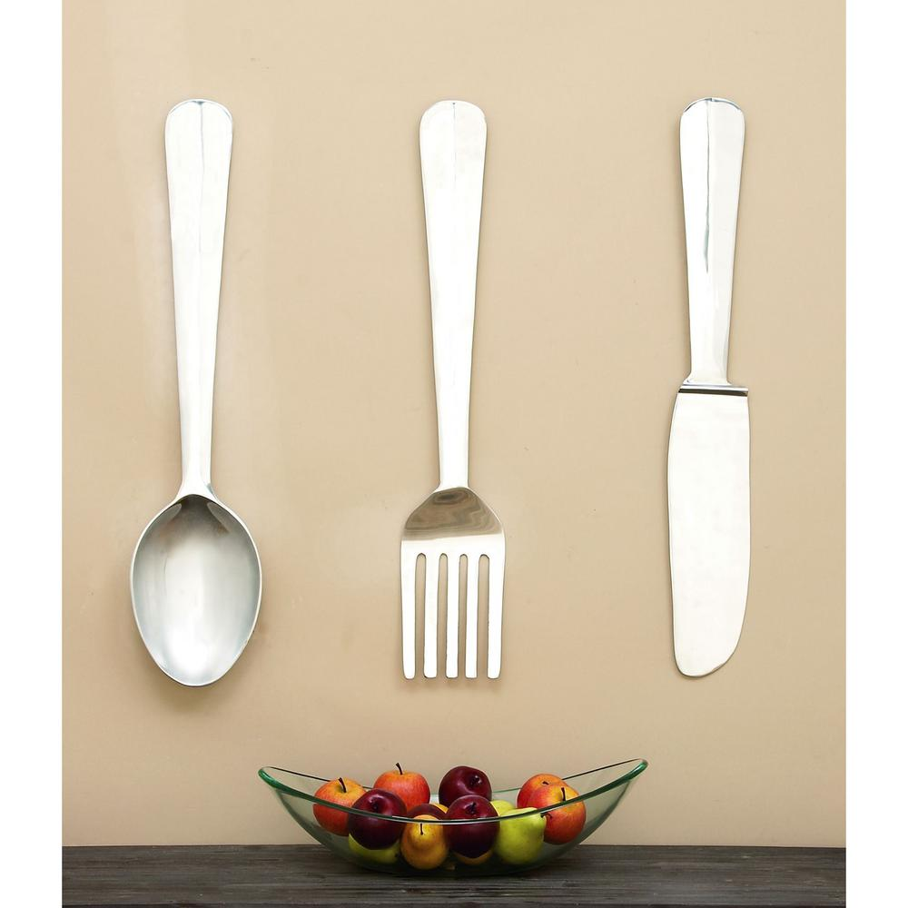 Kitchen Art Set of 3 Polished Aluminum Wall Decor-26168 - The Home ...