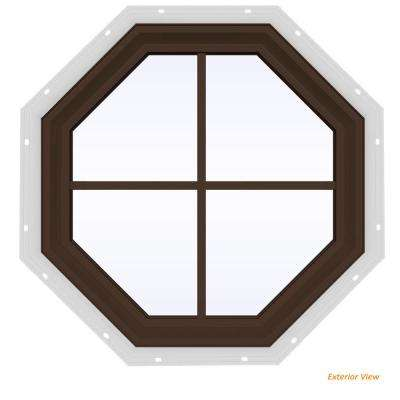 23.5 in. x 23.5 in. V-2500 Series Brown Painted Vinyl Fixed Octagon Geometric Window with Colonial Grids/Grilles