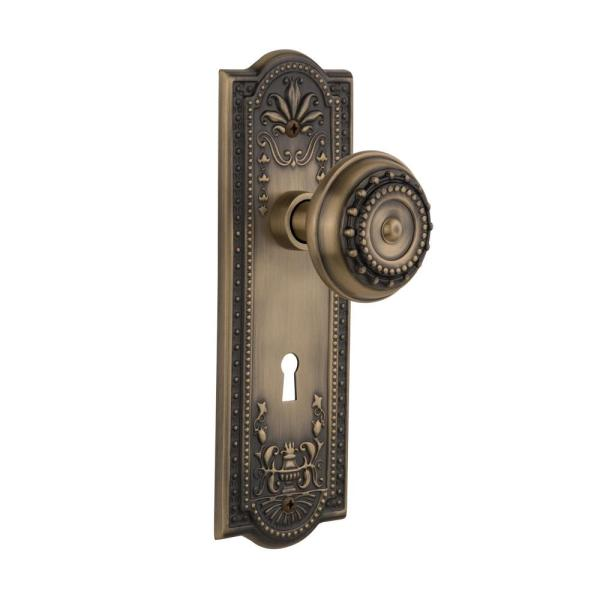 Nostalgic Warehouse Meadows Plate With Keyhole 2 3 8 In Backset Antique Brass Privacy Bed Bath Meadows Door Knob 701810 The Home Depot