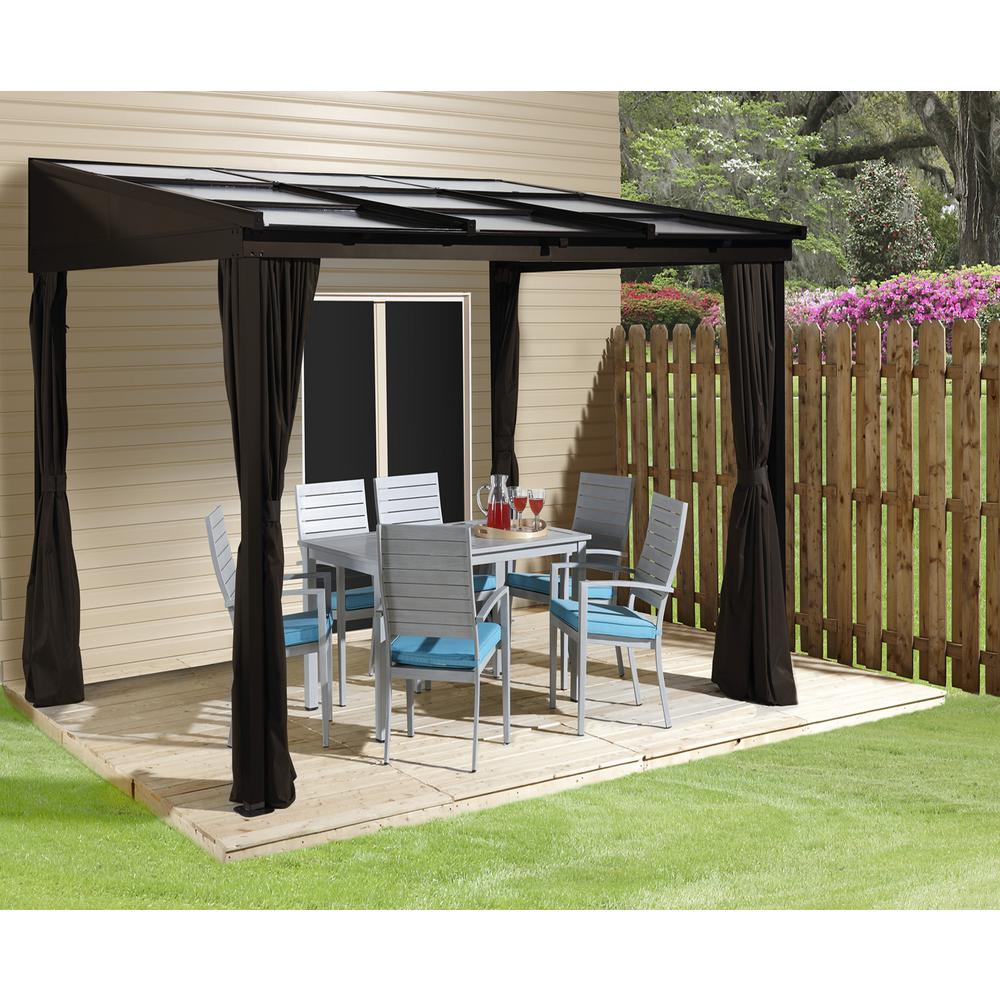 Sojag 10 Ft D X 12 Ft W Sutton Wall Mounted Aluminum Gazebo With Uv Protected Roof Panels And Mosquito Netting 500 9165371 The Home Depot