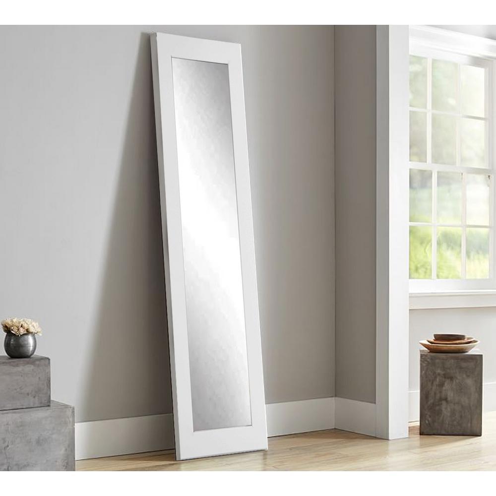 Modern Matte White Full Length Framed Mirror by