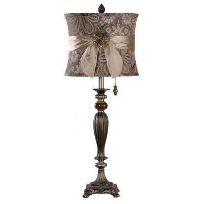 33.75 in. Pewter and Silver Table Lamp