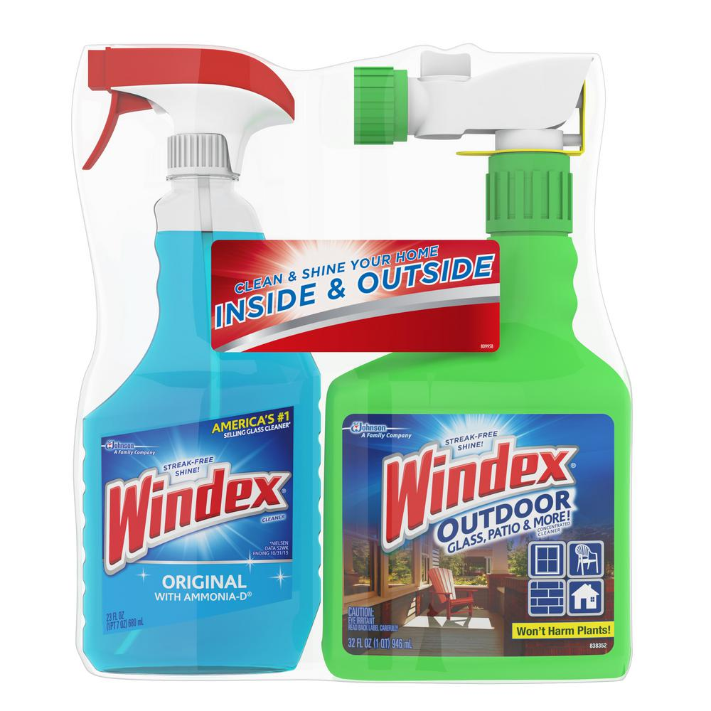 Windex 32 Oz. Outdoor Glass And Patio Concentrated Cleaner And 23 Oz.  Original Glass Cleaner 684374   The Home Depot