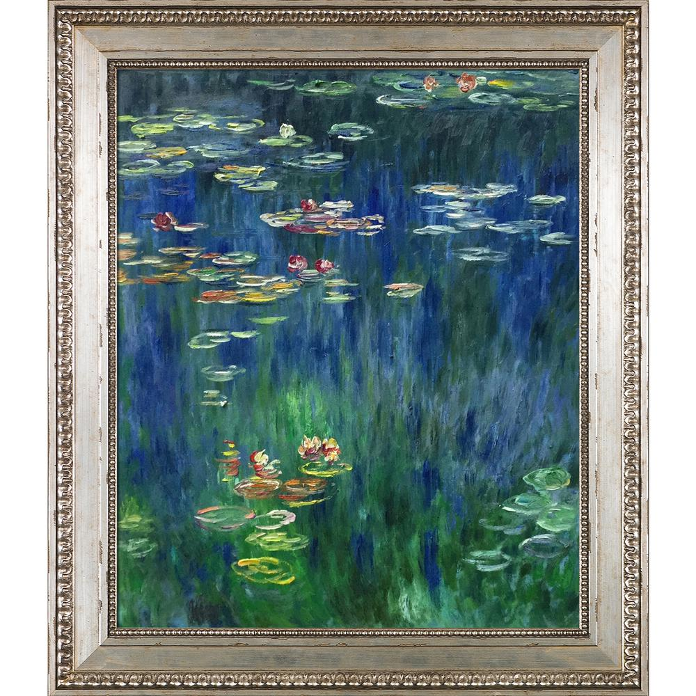 30 In X 26 Water Lilies Green Reflection Left Half Detail Silver King Frame By Monet Framed Wall Art