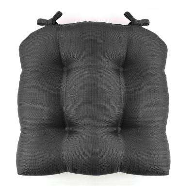 Madison 16 in. x 16 in. Charcoal Woven Cushioned Chair Pad with Ties