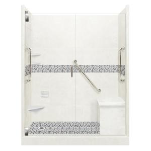 American Bath Factory Classic Freedom Grand Hinged 34 In X 60 In X 80 In Left Drain Alcove Shower Kit In Natural Buff And Satin Nickel Afgh 6034nc Ld Sn The Home Depot