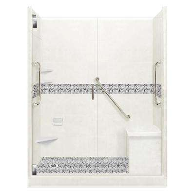 Del Mar Freedom Grand Hinged 30 in. x 60 in. x 80 in. Left Drain Alcove Shower Kit in Natural Buff and Satin Nickel