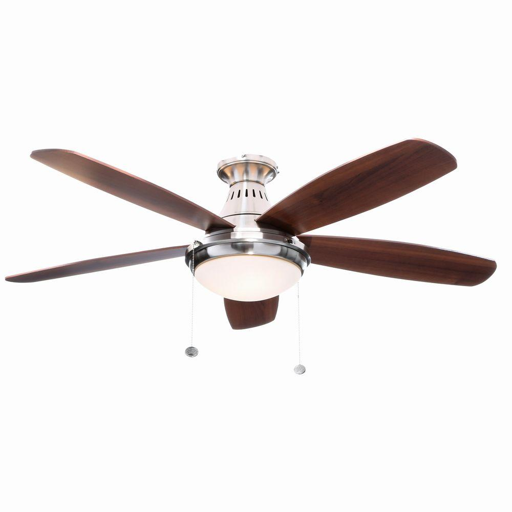 Hampton bay burgess 52 in indoor brushed nickel flushmount ceiling indoor brushed nickel flushmount ceiling fan with light kit mozeypictures Image collections