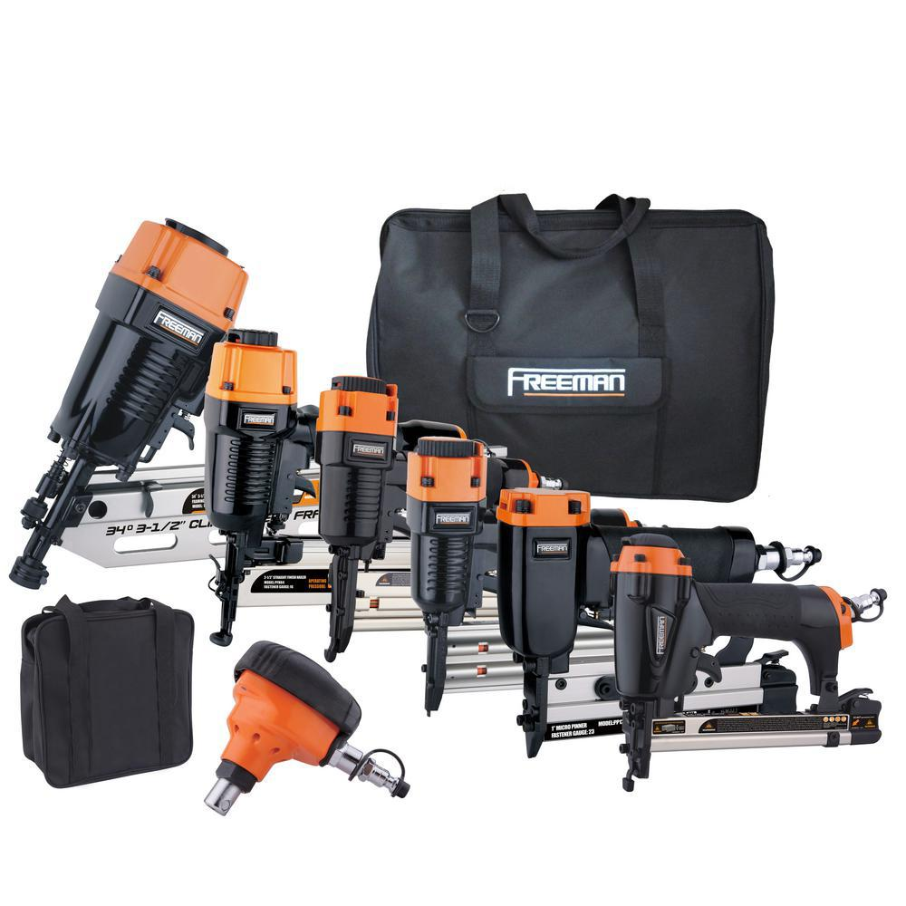 Freeman 9-Piece Complete Nail Gun Combo Kit with 21° Framing Nailer ...