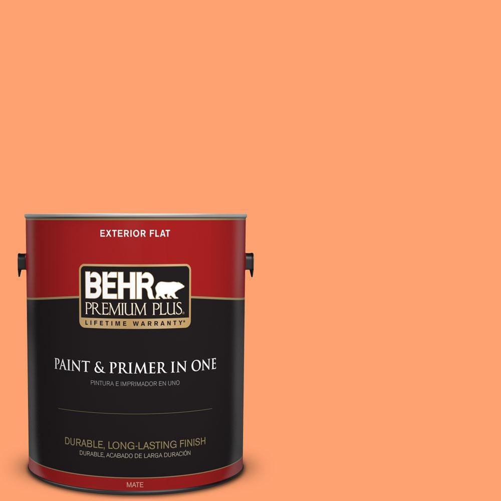 BEHR Premium Plus 1-gal. #P210-5 Cheerful Tangerine Flat Exterior Paint
