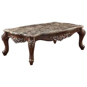 58 in. Oak Brown Large Rectangle Marble Coffee Table with Marble Top
