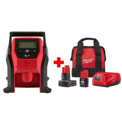 M12 12-Volt Lithium-Ion Cordless Compact Inflator with One 3.0 Ah and One 1.5 Ah Battery, Charger and Bag