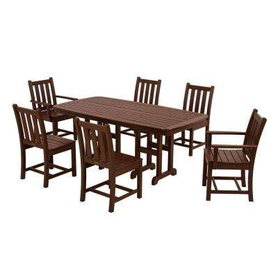 Traditional Garden Mahogany 7-Piece Plastic Outdoor Patio Dining Set