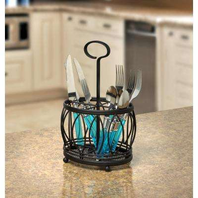 Leaf 11 in. x 7.25 in. x 5.75 in. Steel Silverware Caddy in Black