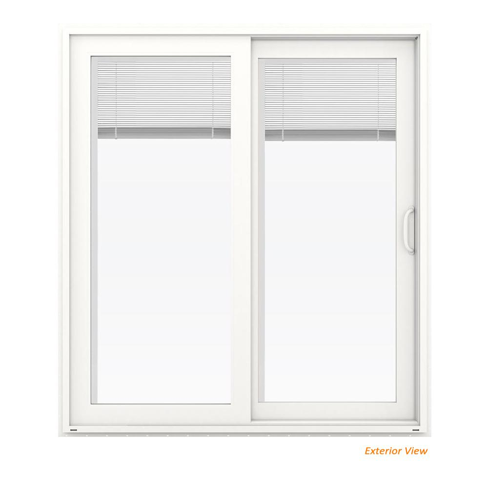Jeld Wen 72 In X 80 In V 4500 White Vinyl Right Hand Full Lite Sliding Patio Door W Internal Blinds Thdjw155900245 The Home Depot