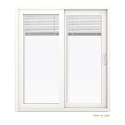 72 in. x 80 in. V-4500 White Vinyl Right-Hand Full Lite Sliding Patio Door w/Blinds