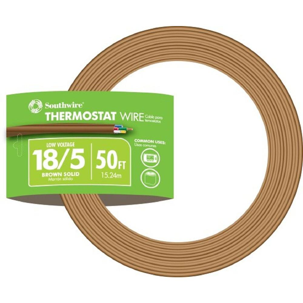 Southwire 50 ft. 18/5 Brown Solid CU CL2 Thermostat Wire on