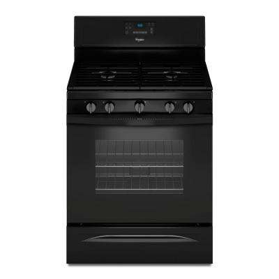 30 in. 5.0 cu. ft. Gas Range with Self-Cleaning Convection Oven in Black