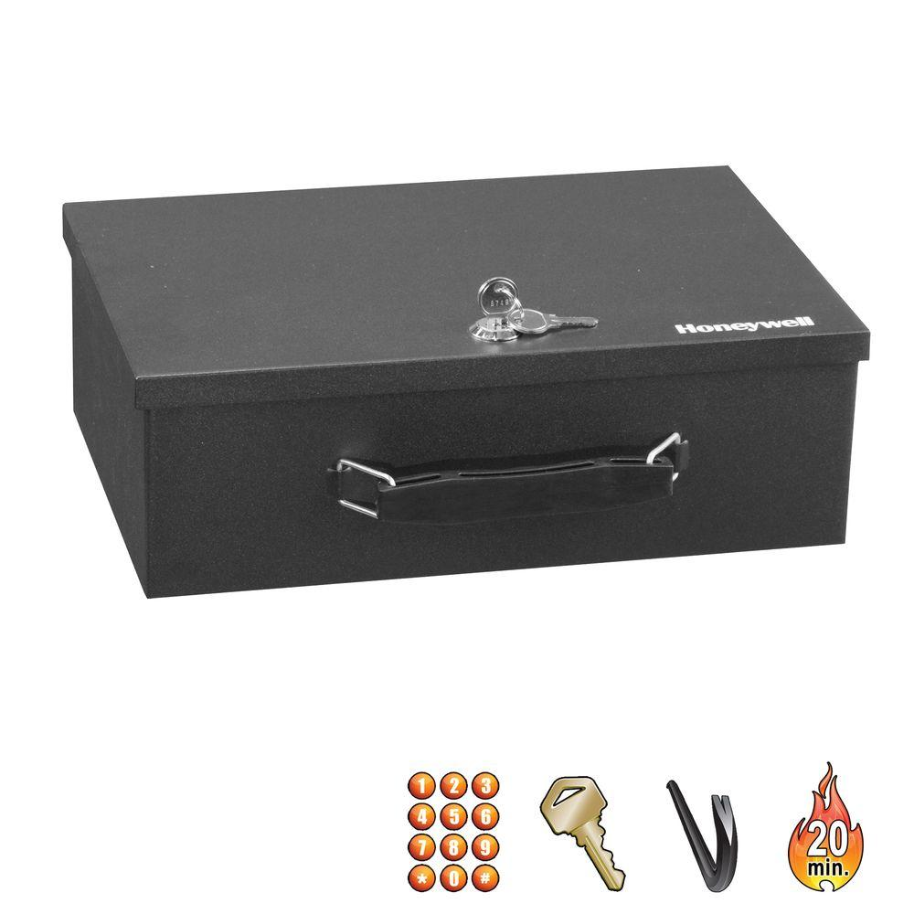 Honeywell 0.17 cu. ft. Fire-Resistant Key Lock Security Box
