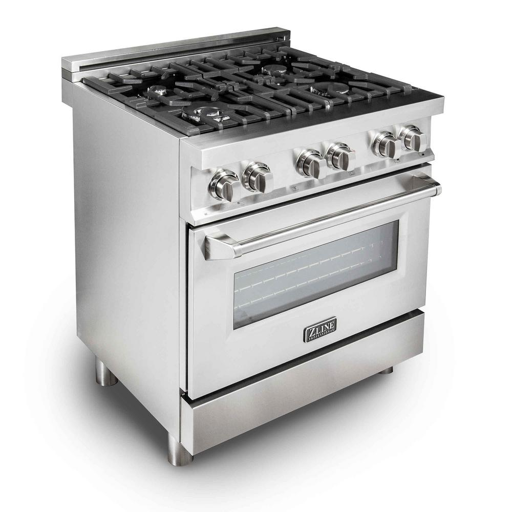 Zline Kitchen And Bath Zline 30in. 4.0 Cu.ft. Gas Range With 4 Gas Burners And Electric Convection Oven In Stainless Steel (silver)