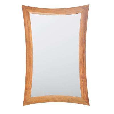 Curvature 24 in. L x 35 in. H Single Solid Teak Framed Mirror in Natural Teak