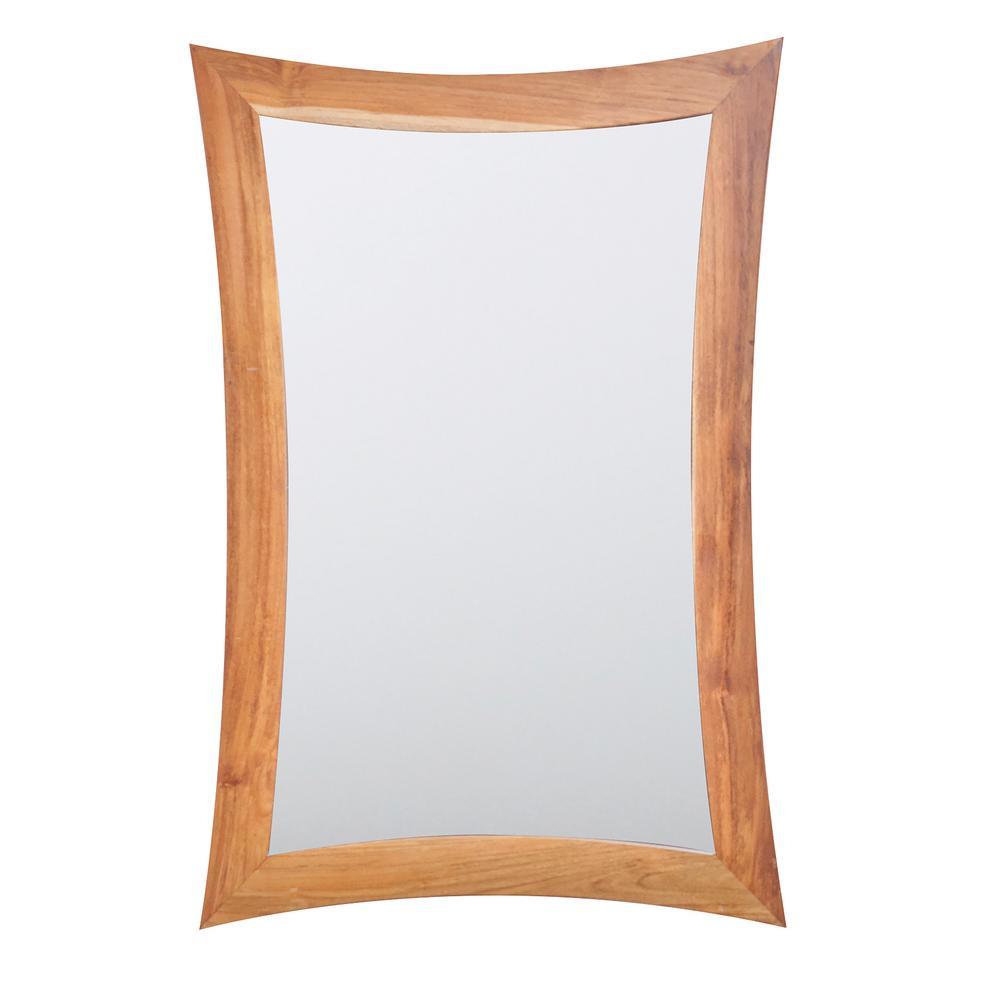 Curvature 24 in. L x 35 in. H Single Solid Teak Framed Mirror in Natural Teak