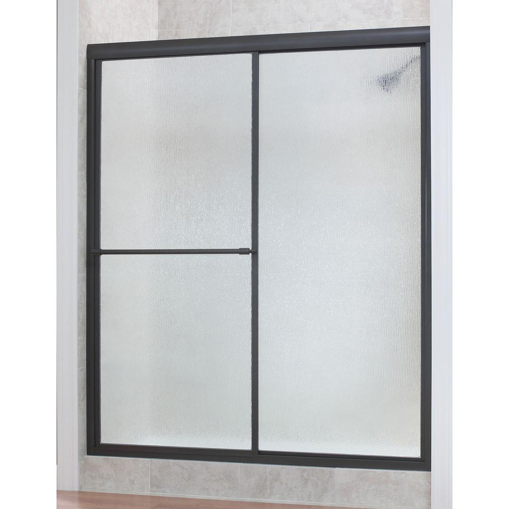 Foremost Tides 56 in. to 60 in. x 70 in. H Framed Sliding Shower Door in Oil Rubbed Bronze and Rain Glass
