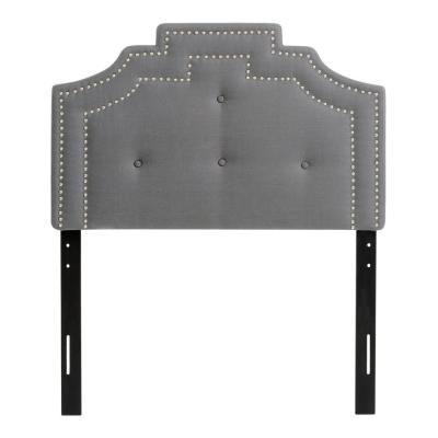 Light Grey Single Crown Silhouette Headboard with Button Tufting
