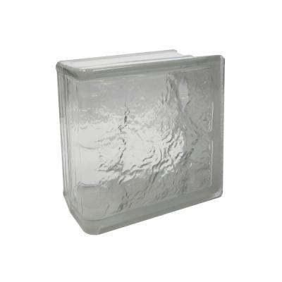 Cortina 7.75 in. x 7.75 in. x 3.875 in. Ice Pattern End Block Glass Block (4-Pack)