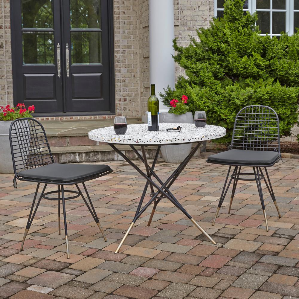 Du Jour Black Round Metal Outdoor/Indoor Bistro Table with Tile Top