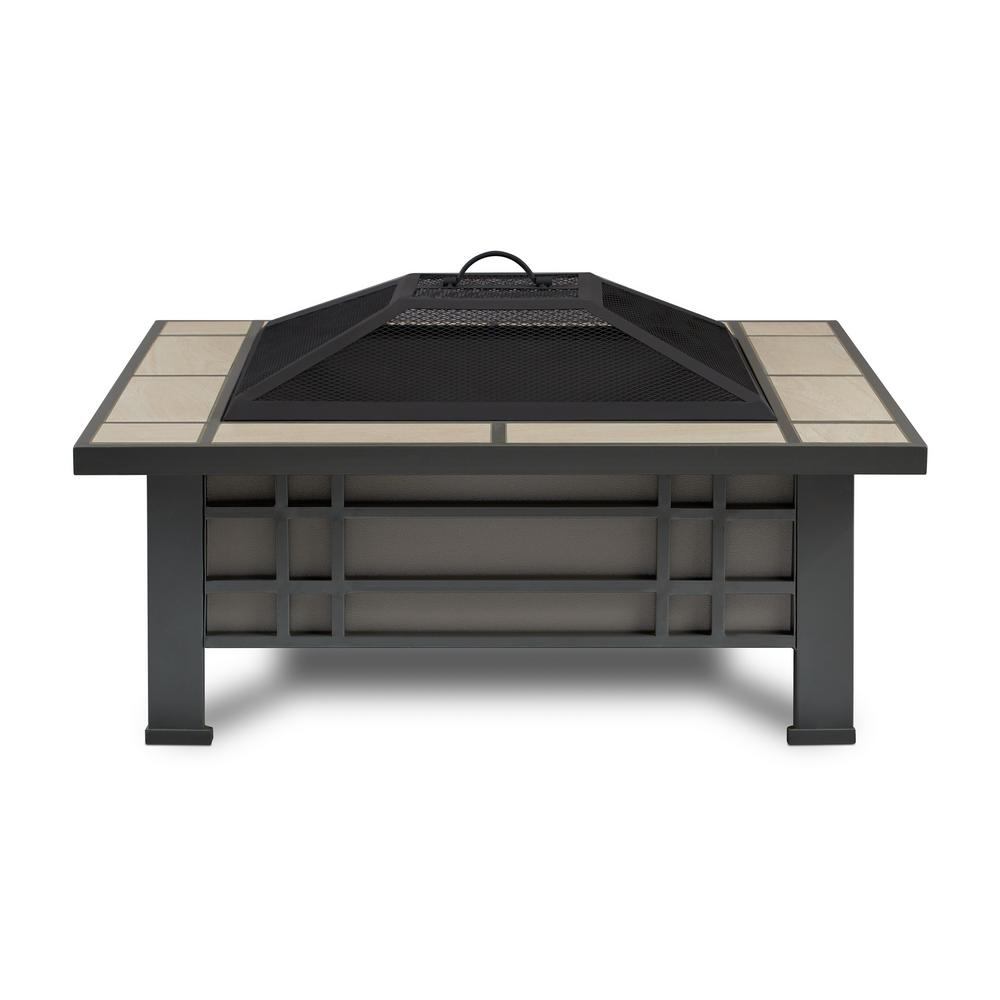 Morrison 34 in. Steel Fire Pit in Gray with Cream Tile