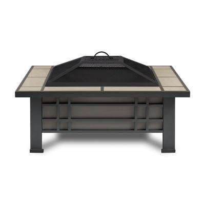 Morrison 34 in. Steel Fire Pit in Gray with Cream Tile Top